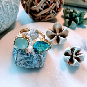 Blue Topaz w/Chalcedony Gold Plated Ring